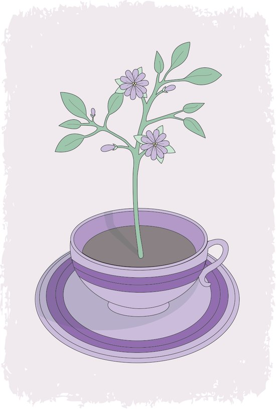Purple Planted Teacup Art Print