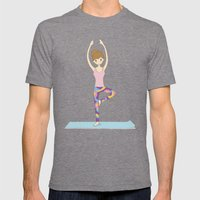 Yoga Girl In Tree Pose I… Mens Fitted Tee Tri-Grey SMALL