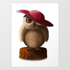 Owl and Red Hat Art Print