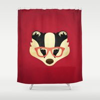 Hipster Badger: Red Shower Curtain