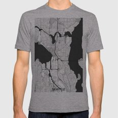 Seattle Map Gray Mens Fitted Tee Athletic Grey SMALL
