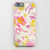 Flower garden in pink and yellow iPhone 6 Slim Case