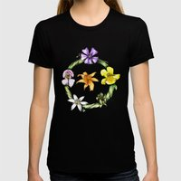 Garland Of Flowers Womens Fitted Tee Black SMALL