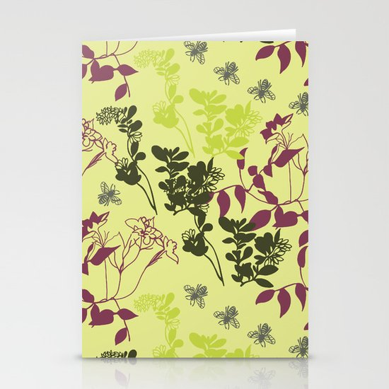 pattern with plants and bees Stationery Card