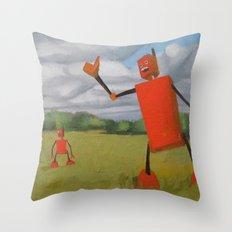 Robot in Landscape #1 Throw Pillow
