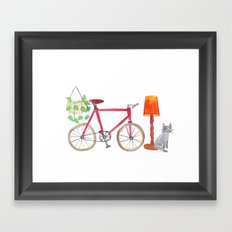 Cat bike lamp plant Framed Art Print
