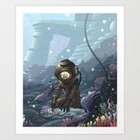 Underwater Gardener Crop Art Print
