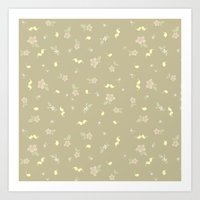 Floral on tan Art Print