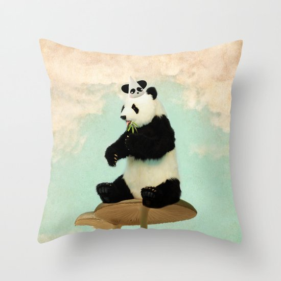 Wild Mushroom Panda Party Throw Pillow