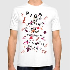 Pig Ate My Pizza White Mens Fitted Tee SMALL