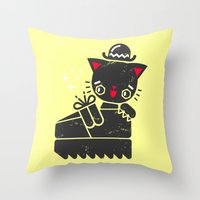 Cat In Platform Shoe Throw Pillow