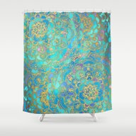 Shower Curtain featuring Sapphire & Jade Stained … by Micklyn