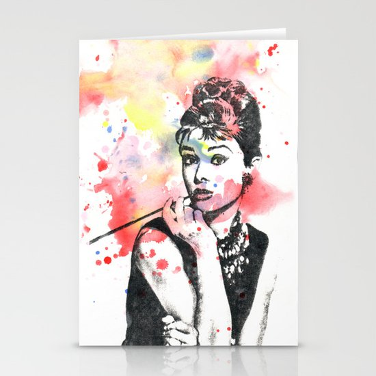 Audrey Hepburn Painting Stationery Card