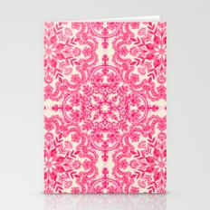 Hot Pink & Soft Cream Folk Art Pattern Stationery Cards