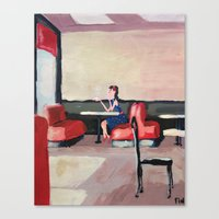 Girl Sipping Tea (painte… Canvas Print