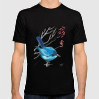Little Blue Fairy Mens Fitted Tee Black SMALL