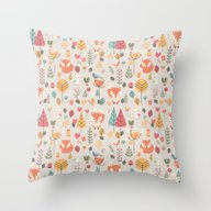 Baby Fox Pattern 05 Throw Pillow