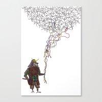 Samurai Bird Play Canvas Print