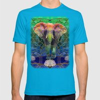 Wandering Elephant Mens Fitted Tee Teal SMALL