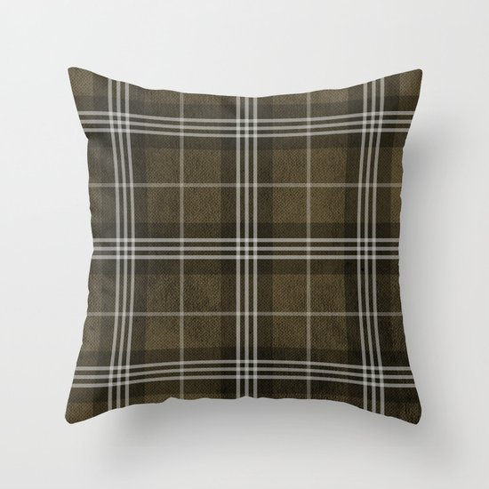 Grungy Brown Plaid Throw Pillow