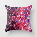 WRAPPED IN STARLIGHT Bold Colorful Abstract Acrylic Painting Galaxy Stars Pink Red Purple Ombre Sky Throw Pillow