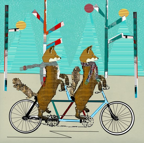 Foxy days lets tandem Art Print