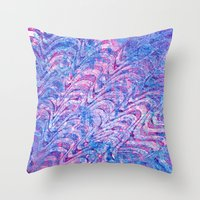 Blue pink curling Throw Pillow