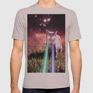 Mega Space Cat Rising Mens Fitted Tee Cinder SMALL