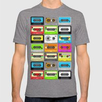 Retro 80s Cassette Tape Pattern Mens Fitted Tee Tri-Grey SMALL
