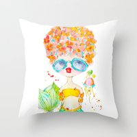 pink lemonade -- sweet, but tart. Throw Pillow
