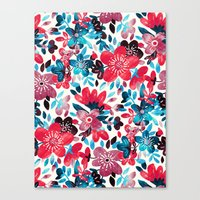 Happy Red Flower Collage Canvas Print