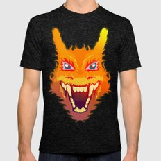 Flaming Charizard Mens Fitted Tee Tri-Black SMALL