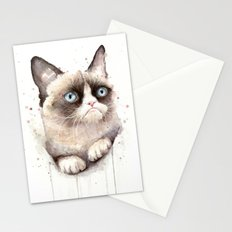 Grumpy Watercolor Cat Stationery Cards