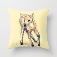 Wobbly Deer Throw Pillow