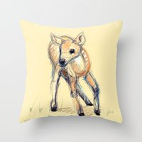 Wobbly Deer Throw Pillow