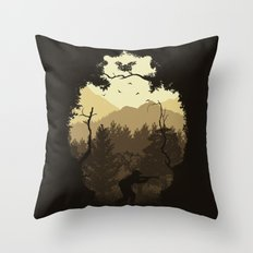 Hunting Season - Brown Throw Pillow