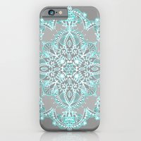 iPhone Cases featuring Teal and Aqua Lace Mandala on Grey by micklyn
