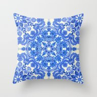 Throw Pillow featuring Cobalt Blue & China Whit… by Micklyn