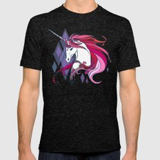 Pink Unicorn Mens Fitted Tee Tri-Black SMALL
