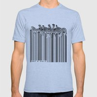 Zebra Barcode Mens Fitted Tee Athletic Blue SMALL