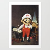 mario Art Prints featuring Mario by Linus Carlsson / LC art