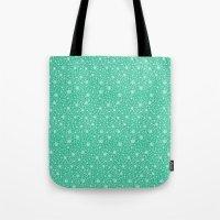 Dahlia Pattern, Teal Tote Bag