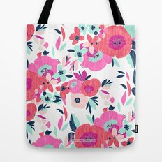 Janis Poppy Ikat Floral  Tote Bag