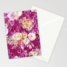 PROFUSION FLORAL - MERLOT Stationery Cards