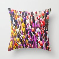Abstract Pussy Willows Throw Pillow