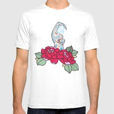 pin-up and roses Mens Fitted Tee SMALL White