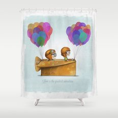 UP Pixar — Love is the greatest adventure  Shower Curtain