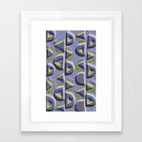 Blue Lino and Digital Pattern Print Framed Art Print