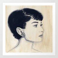 Audrey (watercolor) Art Print