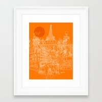 Paris! Orange Sun Framed Art Print